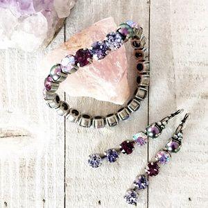 Jewelry - Purple Swarovski Crystal Bracelet & Drop Earrings